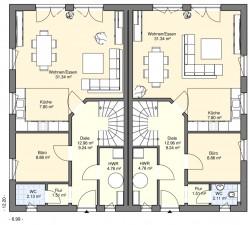 Doppel und reihenh user bgw hausbau for Doppelhaus grundriss modern
