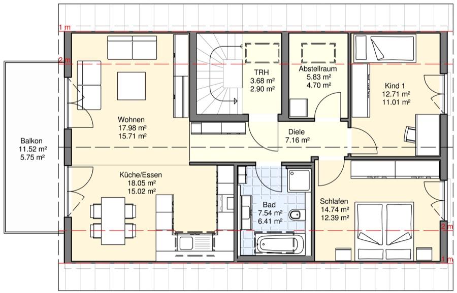 Zweifamilienh user bgw hausbau for Zweifamilienhaus grundriss beispiele